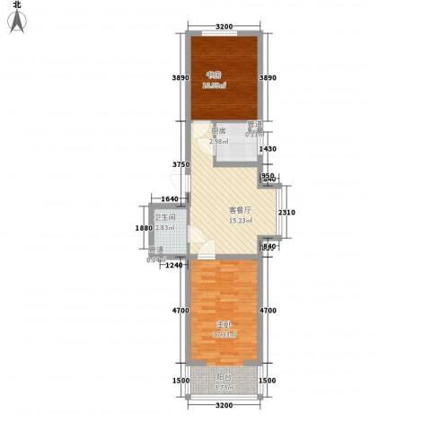 浑河国际城2室1厅1卫1厨71.00㎡户型图