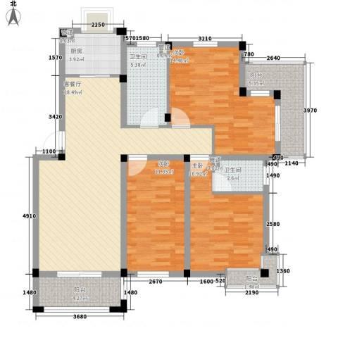 鑫达・风和日丽3室1厅2卫1厨126.00㎡户型图