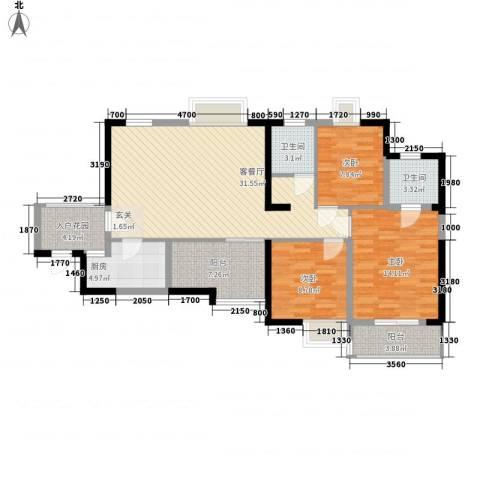 金陵王榭3室1厅2卫1厨115.00㎡户型图