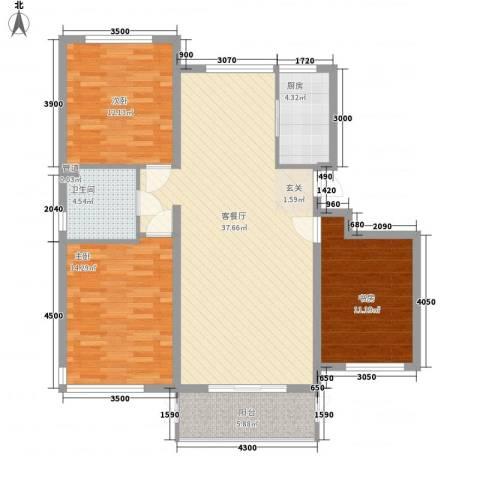 鼎盛新城3室1厅1卫1厨124.00㎡户型图