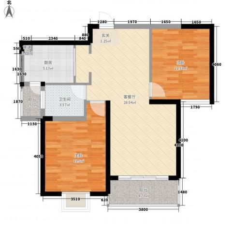 新都会花园二期2室1厅1卫1厨98.00㎡户型图