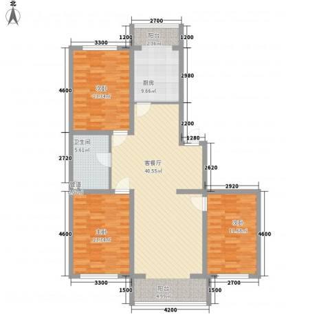 浑河国际城3室1厅1卫1厨133.00㎡户型图