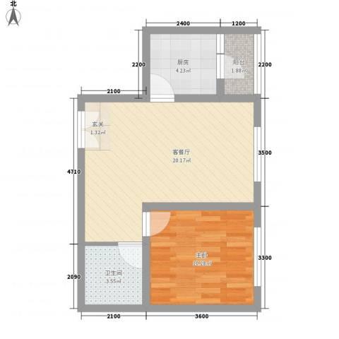 铁路二村1室1厅1卫1厨40.11㎡户型图