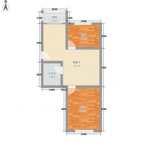 铁路二村2室1厅1卫1厨48.81㎡户型图
