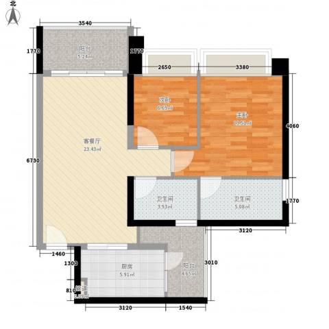 汇峰国际公寓2室1厅2卫1厨99.00㎡户型图