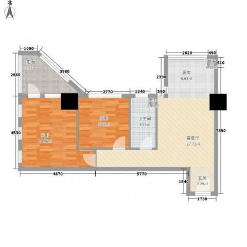 新建SOHO2室1厅1卫0厨90.00㎡户型图