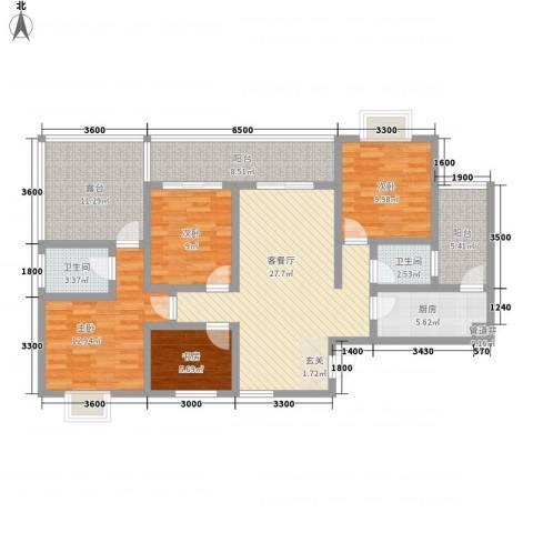五指山・山水名城4室1厅2卫1厨135.00㎡户型图