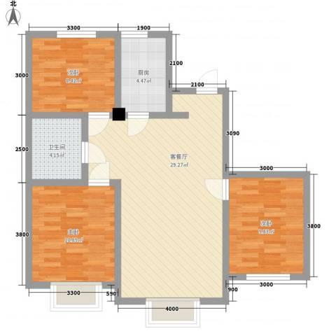 沈阳月星国际城3室1厅1卫1厨100.00㎡户型图