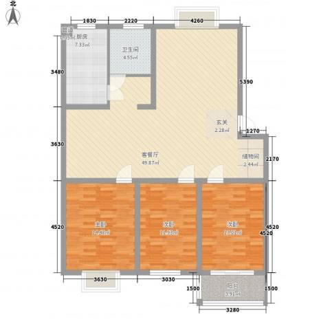 香江花园3室1厅1卫1厨128.00㎡户型图