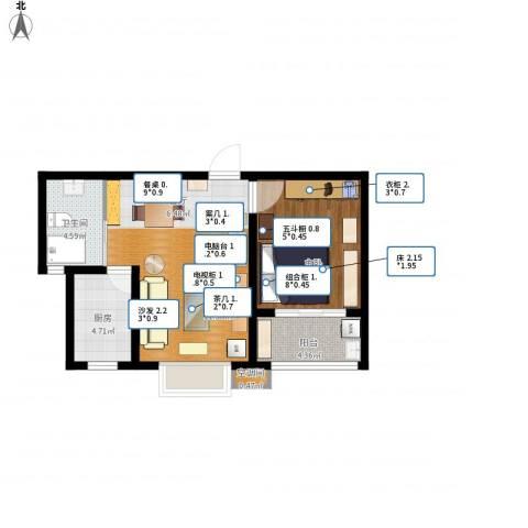 嘉宝都市港湾城1室1厅1卫1厨69.00㎡户型图
