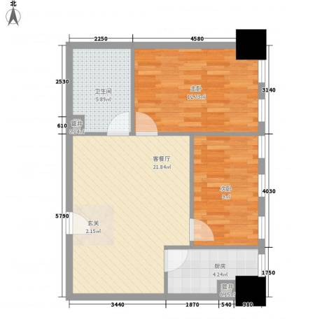 新建SOHO2室1厅1卫1厨77.00㎡户型图
