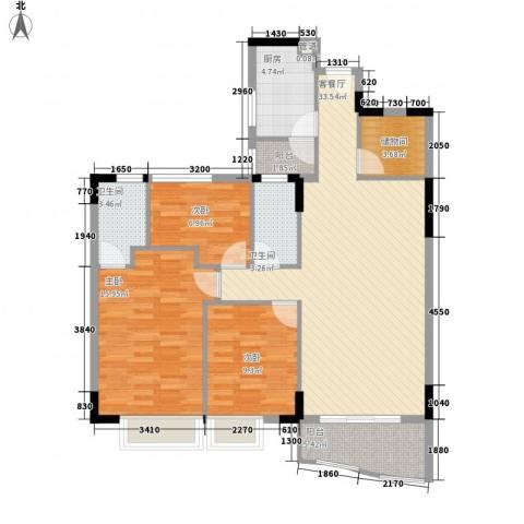 中南海晖园3室1厅2卫1厨124.00㎡户型图
