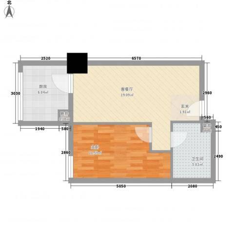 新建SOHO1室1厅1卫1厨60.00㎡户型图
