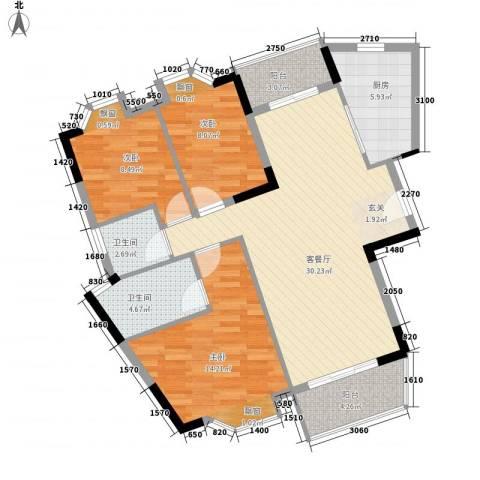 保利紫薇花园3室1厅2卫1厨115.00㎡户型图