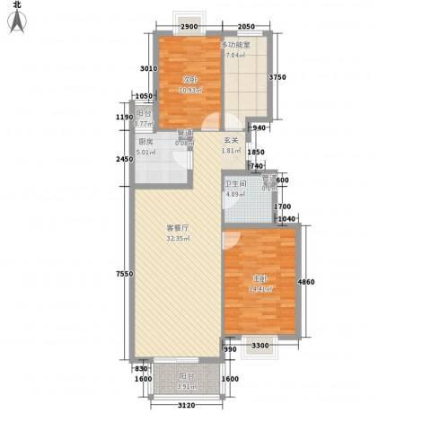 锦绣花园二期2室1厅1卫1厨112.00㎡户型图