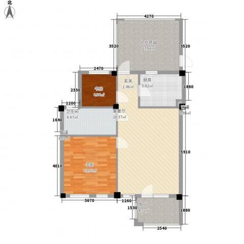 戴河庭院2室1厅1卫1厨84.00㎡户型图