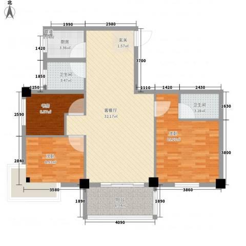 芝兰新城3室1厅2卫1厨113.00㎡户型图