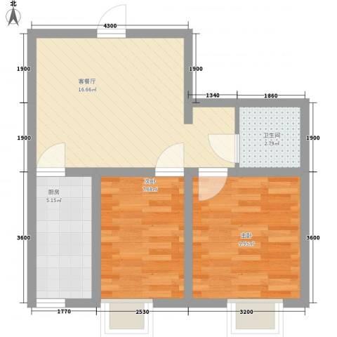 沈阳月星国际城2室1厅1卫1厨62.00㎡户型图