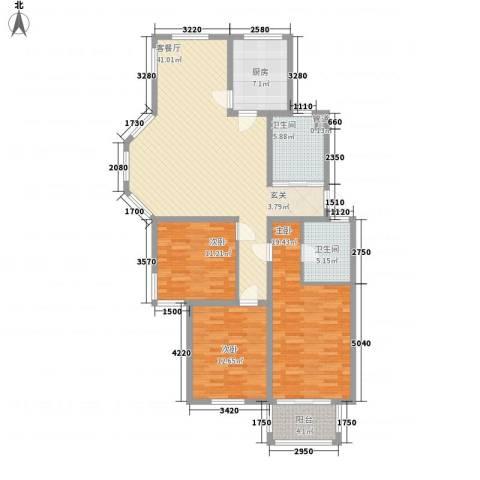 太湖惠泉花园二期3室1厅2卫1厨136.00㎡户型图