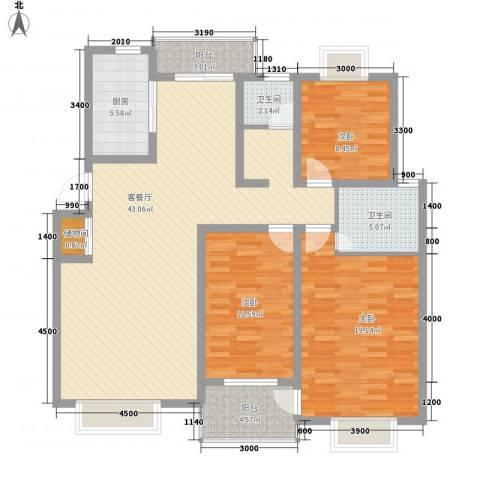 顺驰滨江奥城3室1厅2卫1厨126.00㎡户型图