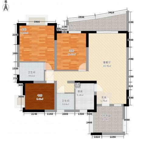 上海城二期3室1厅2卫1厨140.00㎡户型图