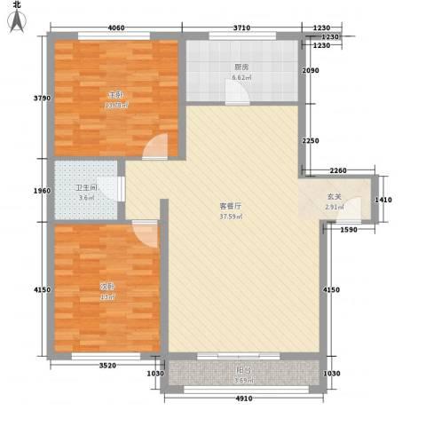 万盛佳园2室1厅1卫1厨110.00㎡户型图