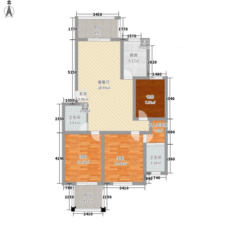 东城风景户型图I户型 3室2厅2卫1厨