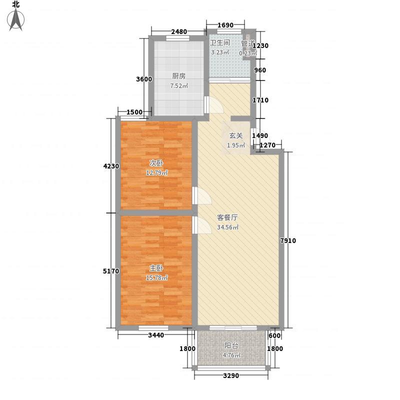 太湖惠泉花园二期98.00㎡A2户型2室2厅1卫1厨