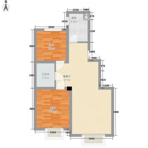 沈阳月星国际城2室1厅1卫1厨78.00㎡户型图