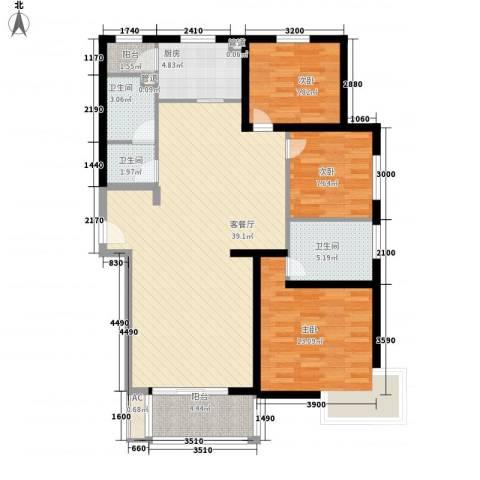 假日花城3室1厅3卫1厨137.00㎡户型图