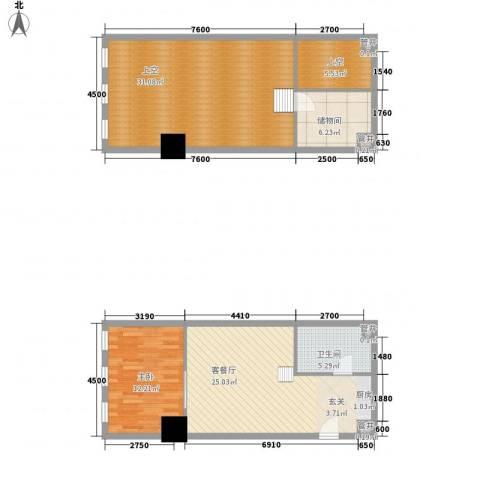 新建SOHO1室1厅1卫0厨121.00㎡户型图