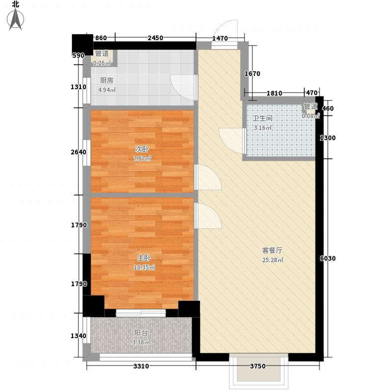 钻石水岸名城二期84.74㎡10#楼15单元户型2室2厅1卫1厨