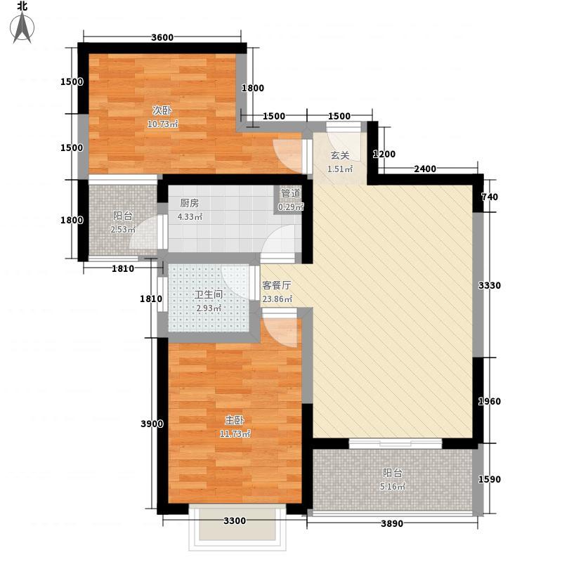 北湖龙珠82.37㎡一期A4户型2室2厅1卫1厨