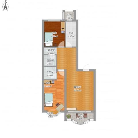 荣耀上城2室1厅2卫1厨90.00㎡户型图