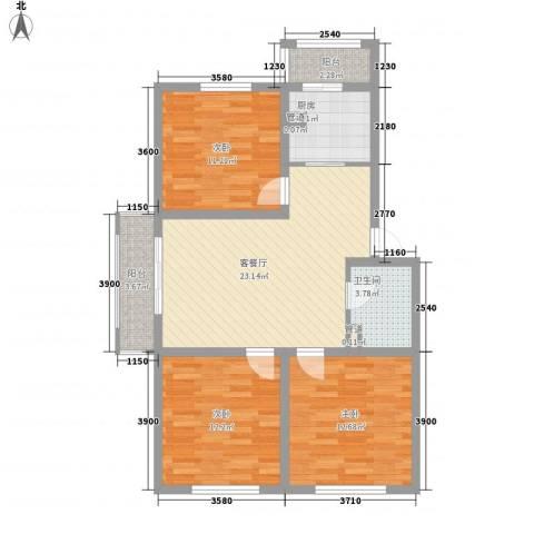 柴油机宿舍3室1厅1卫1厨106.00㎡户型图