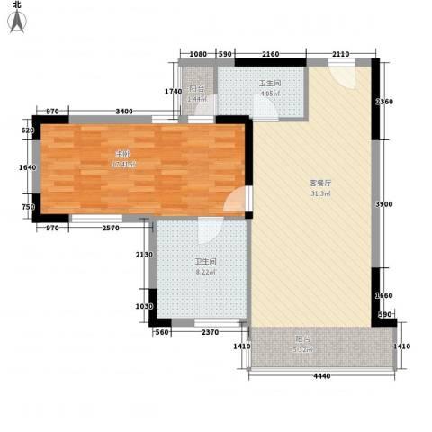 创富商务公寓1室1厅2卫0厨86.00㎡户型图