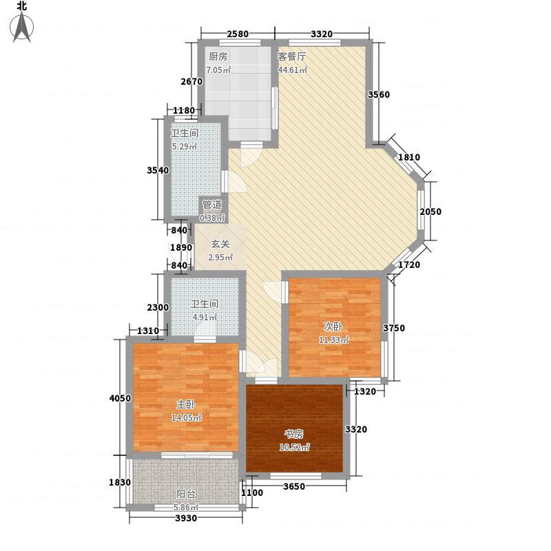 太湖惠泉花园二期144.00㎡GD2户型3室2厅2卫1厨