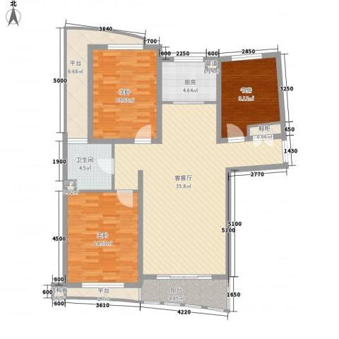宏城金棕榈3室1厅1卫1厨124.00㎡户型图