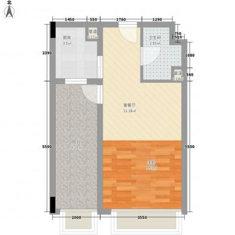 天成国际・金寓1厅1卫1厨54.00㎡户型图