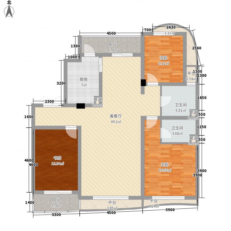 宏城金棕榈户型图B户型 3室2厅2卫1厨