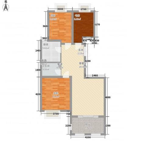 金湖国际3室1厅1卫1厨107.00㎡户型图