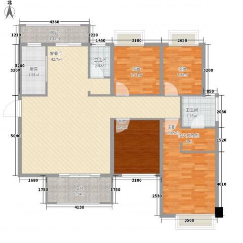 宁宝世家4室1厅2卫1厨154.00㎡户型图