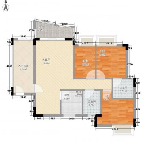 中南海晖园3室1厅2卫1厨106.00㎡户型图