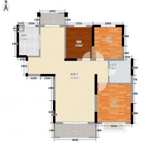 银亿海尚广场3室1厅1卫1厨92.00㎡户型图