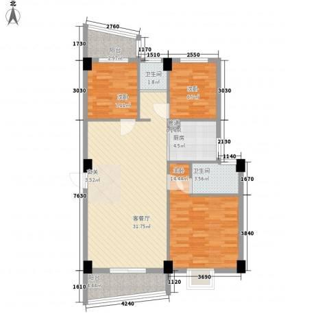 尚美花城3室1厅2卫1厨88.00㎡户型图