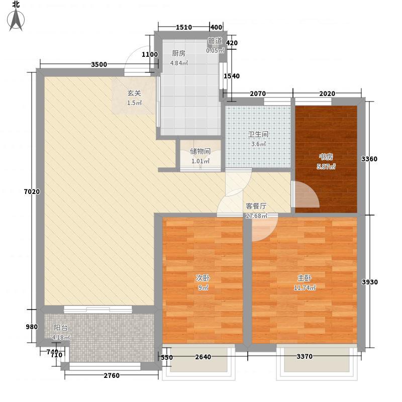 山景水岸户型图A2户型 3室2厅1卫1厨