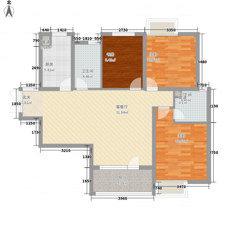 亿科公元2010户型图平层d户型 3室2厅1卫1厨