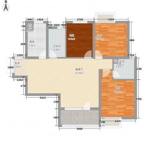 亿科公元20103室1厅2卫1厨117.00㎡户型图