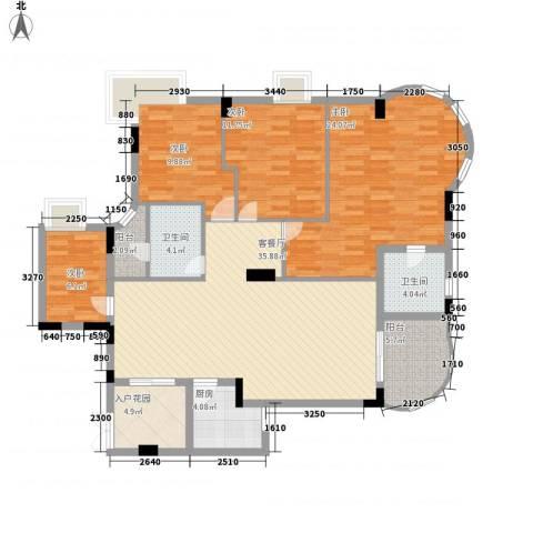 中南海晖园4室1厅2卫1厨159.00㎡户型图