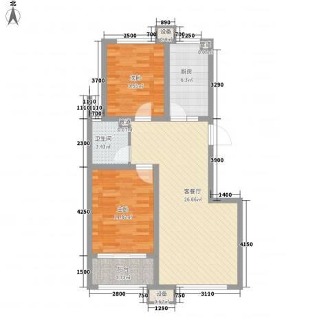 佰瑞廷2室1厅1卫1厨87.00㎡户型图